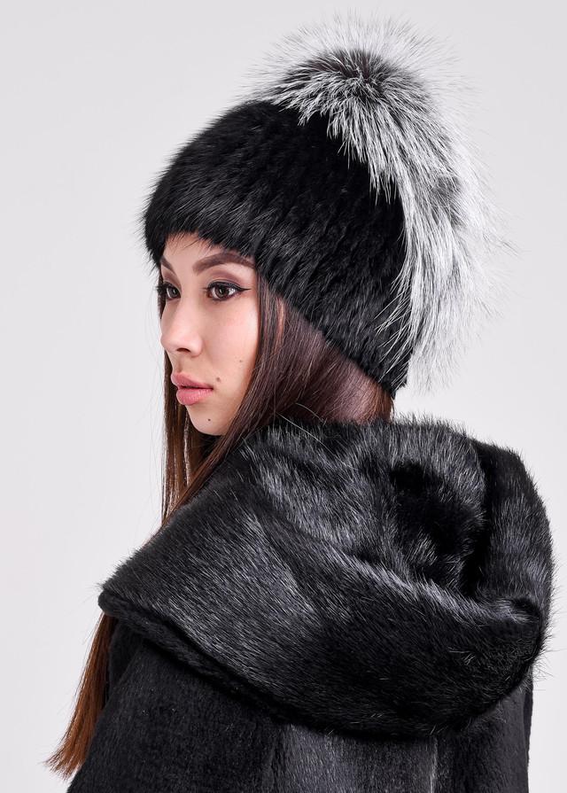 Зимняя шапка для женщин с меховым обручем купить алматы