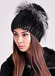 Красивая зимняя шапка с меховой окантовкой из песца и чернобурки, фото 2
