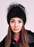 Красивая зимняя шапка с меховой окантовкой из песца и чернобурки, фото 3