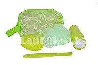 Дорожный набор для душа 5 предметов (мочалка, мыльница, расческа, футляр для зубной щетки, косметичка) зеленый