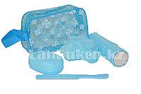 Дорожный набор для душа 5 предметов (мочалка, мыльница, расческа, футляр для зубной щетки, косметичка) синий