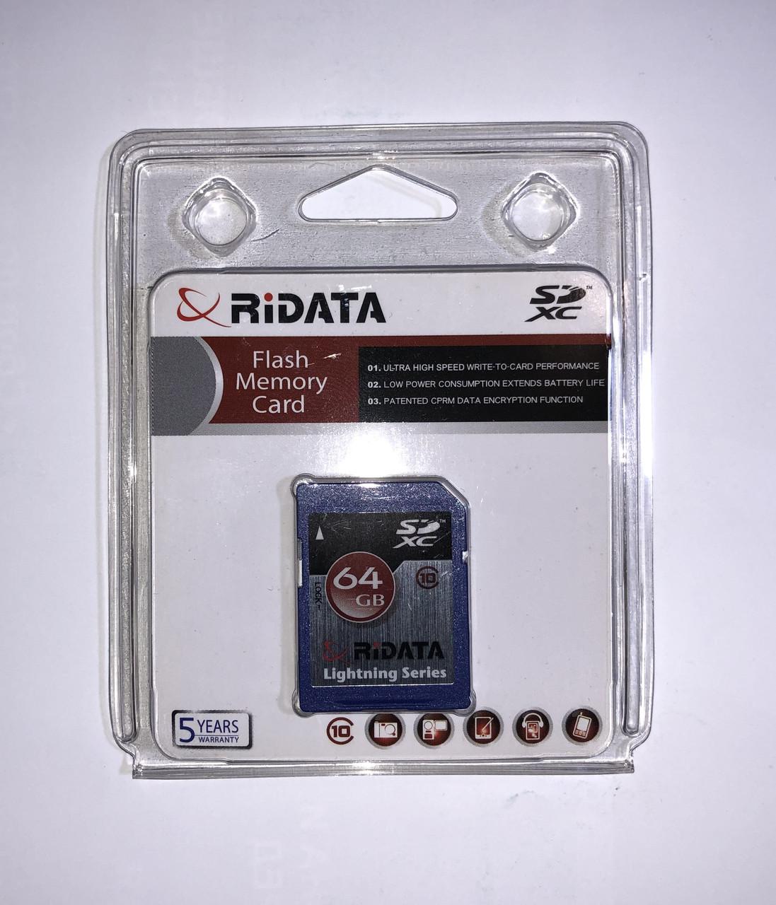 Карта памяти Ridata (Ritek) SD 64GB Class 10