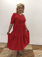 Красное многоярусное платье 48-58 размер , фото 1