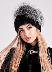Роскошная меховая шапка с объемным колпаком из чернобурки, купить в Казахстане