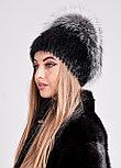 Роскошная меховая шапка с объемным колпаком из чернобурки, купить в Казахстане, фото 4