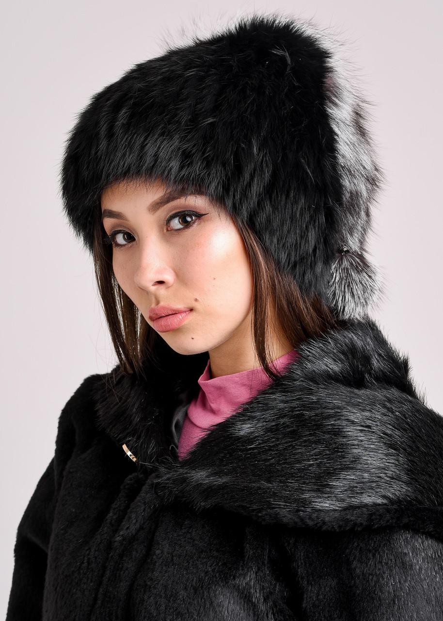 Женская меховая шапка из кролика с декоративным хвостиком