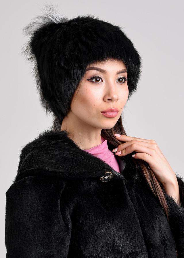 Женская меховая шапка с декоративным хвостиком Казахстан