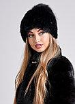 Черная женская шапка с меховым хохолком из чернобурки, фото 2