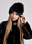 Черная женская шапка с меховым хохолком из чернобурки, фото 3