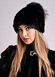 Черная женская шапка с меховым хохолком из чернобурки, фото 4