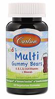 Carlson Labs, Жевательные мультивитамины в виде мишек для детей, Натуральный малиновый вкус, 30 вегетарианских