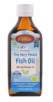 Carlson Labs, Для детей, норвежская серия, самый лучший рыбий жир, натуральный лимонный вкус, 200 мл
