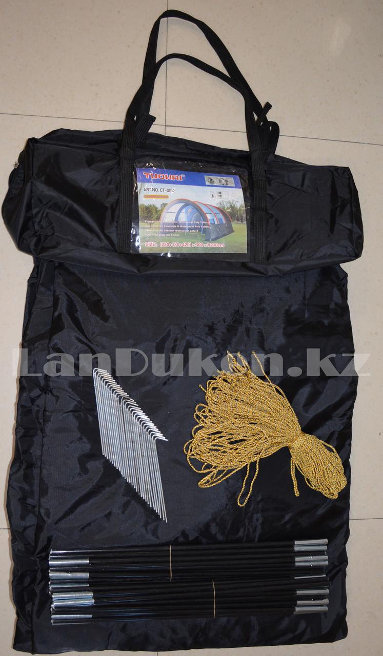 Палатка люкс с коридором и шатром TUOHAI СТ-3017 4-х местная (220+130+420)*300* h210) - фото 5