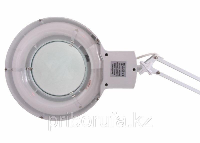 Лупа на струбцине круглая настольная 5Х с подсветкой, белая Rexant