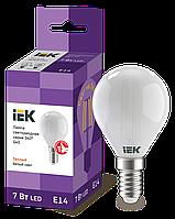 Лампа LED G45 шар матов. 7Вт 230В 4000К E14 серия 360° IEK