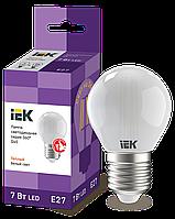 Лампа LED G45 шар матов. 7Вт 230В 4000К E27 серия 360° IEK