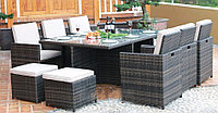 Комплект стол 6 кресел 4 пуфика SHINE, фото 1