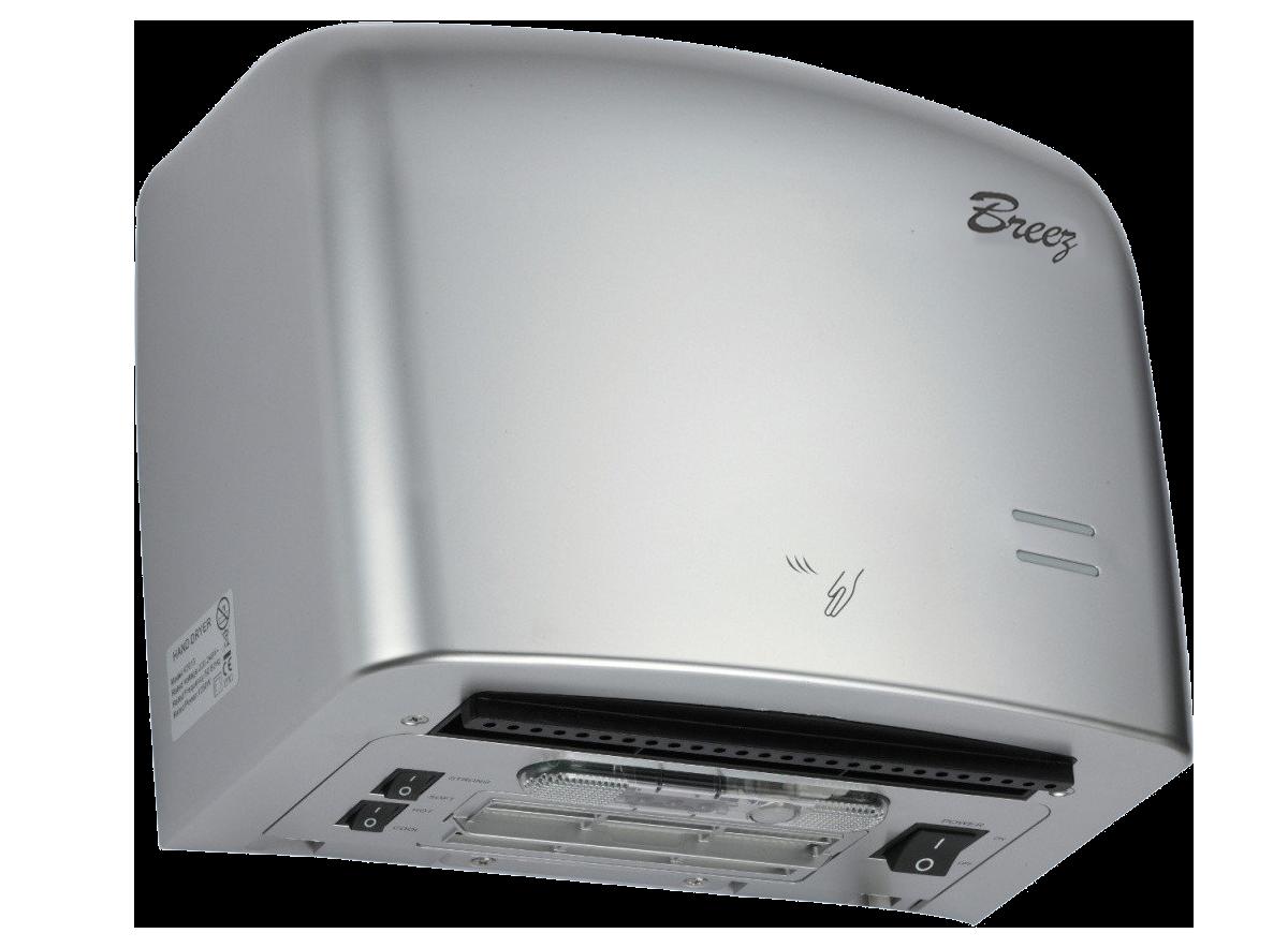 Высокоскоростная электросушилка для рук Breez BHDA 1250S серия AirMax (пластик серебристая)