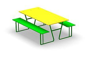 Скамейка  детская со столиком уличная