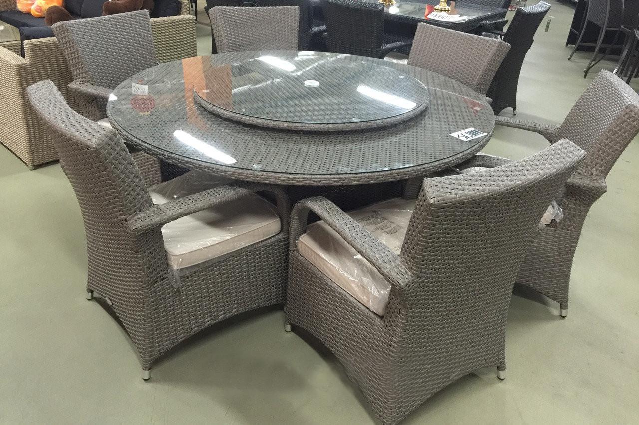 Комплект мебели из искусственного ротанга (стол и восемстол с вращающимся центром 6 кресел МАКИТА