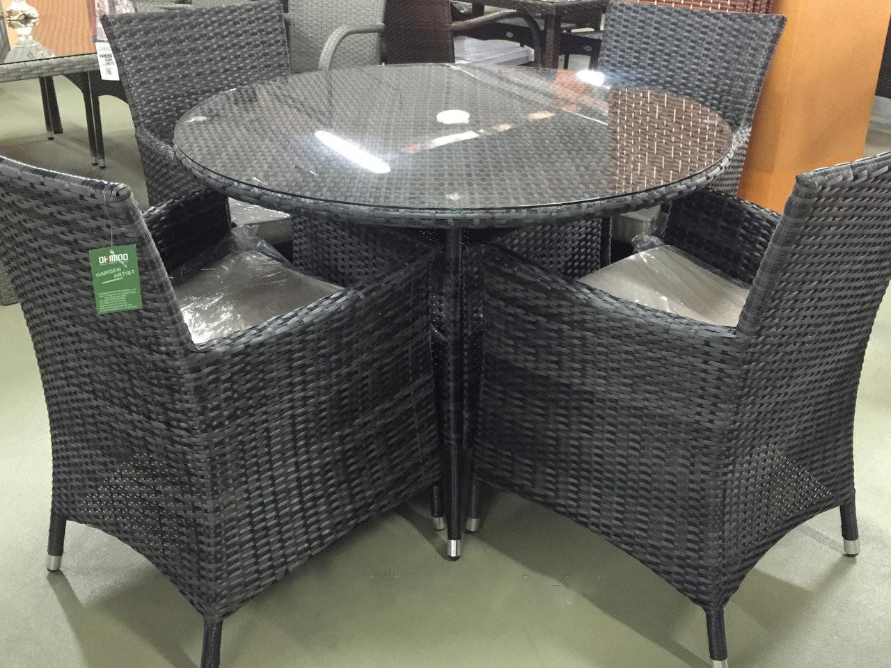 Комплект мебели из искусственного ротанга (черный) СМУС