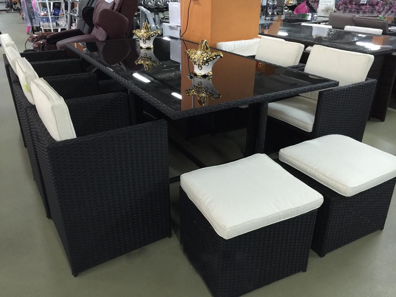 Комплект мебели из искусственного ротанга. Набор мебели, стол + 8 кресел + 4 пуфа ВОРСЛЕЯ