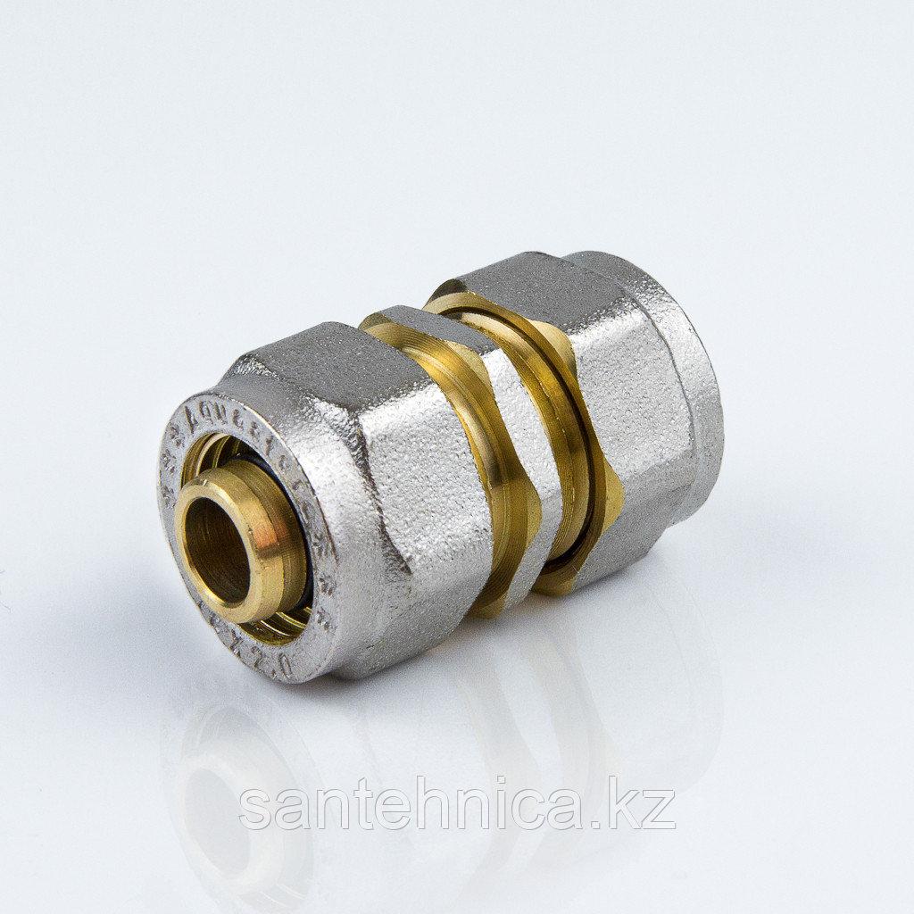 Муфта для металлопластиковой трубы Дн 20 обжим латунь никель ГОСТ 32415-2013
