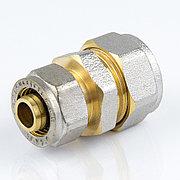 Муфта для металлопластиковой трубы Дн 20*16 обжим латунь никель ГОСТ 32415-2013