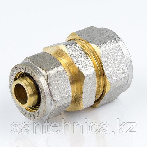 Муфта для металлопластиковой трубы Дн 26*16 обжим латунь никель ГОСТ 32415-2013 Valtec, фото 2