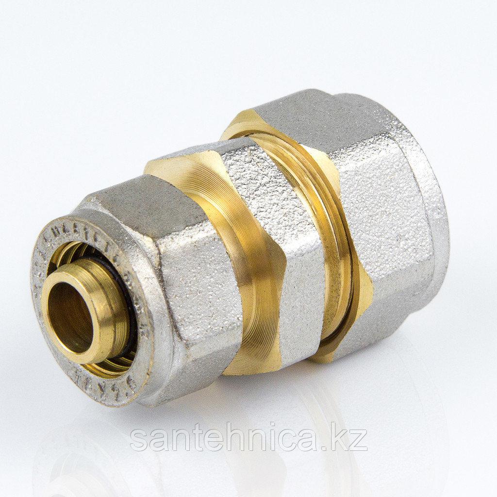 Муфта для металлопластиковой трубы Дн 32*16 обжим латунь никель ГОСТ 32415-2013 Valtec