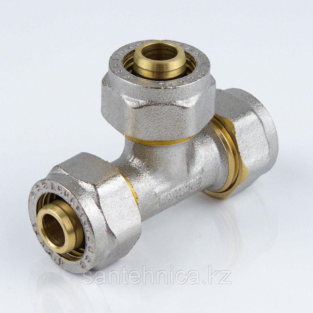 Тройник для металлопластиковой трубы Дн 26 обжим латунь никель ГОСТ 32415-2013
