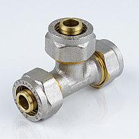 Тройник для металлопластиковой трубы Дн 32 обжим латунь никель ГОСТ 32415-2013 Valtec
