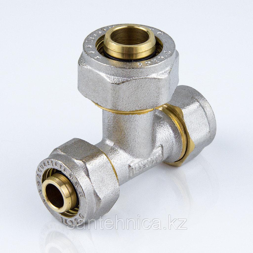 Тройник для металлопластиковой трубы Дн 26*16*26 обжим латунь никель ГОСТ 32415-2013
