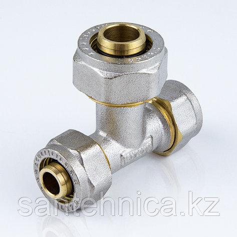 Тройник для металлопластиковой трубы Дн 32*16*32 обжим латунь никель ГОСТ 32415-2013 Valtec, фото 2