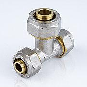 Тройник для металлопластиковой трубы Дн 32*26*32 обжим латунь никель ГОСТ 32415-2013 Valtec