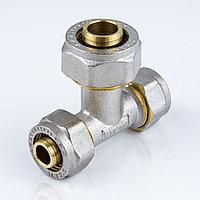 Тройник для металлопластиковой трубы Дн 32*32*26 обжим латунь никель ГОСТ 32415-2013 Valtec