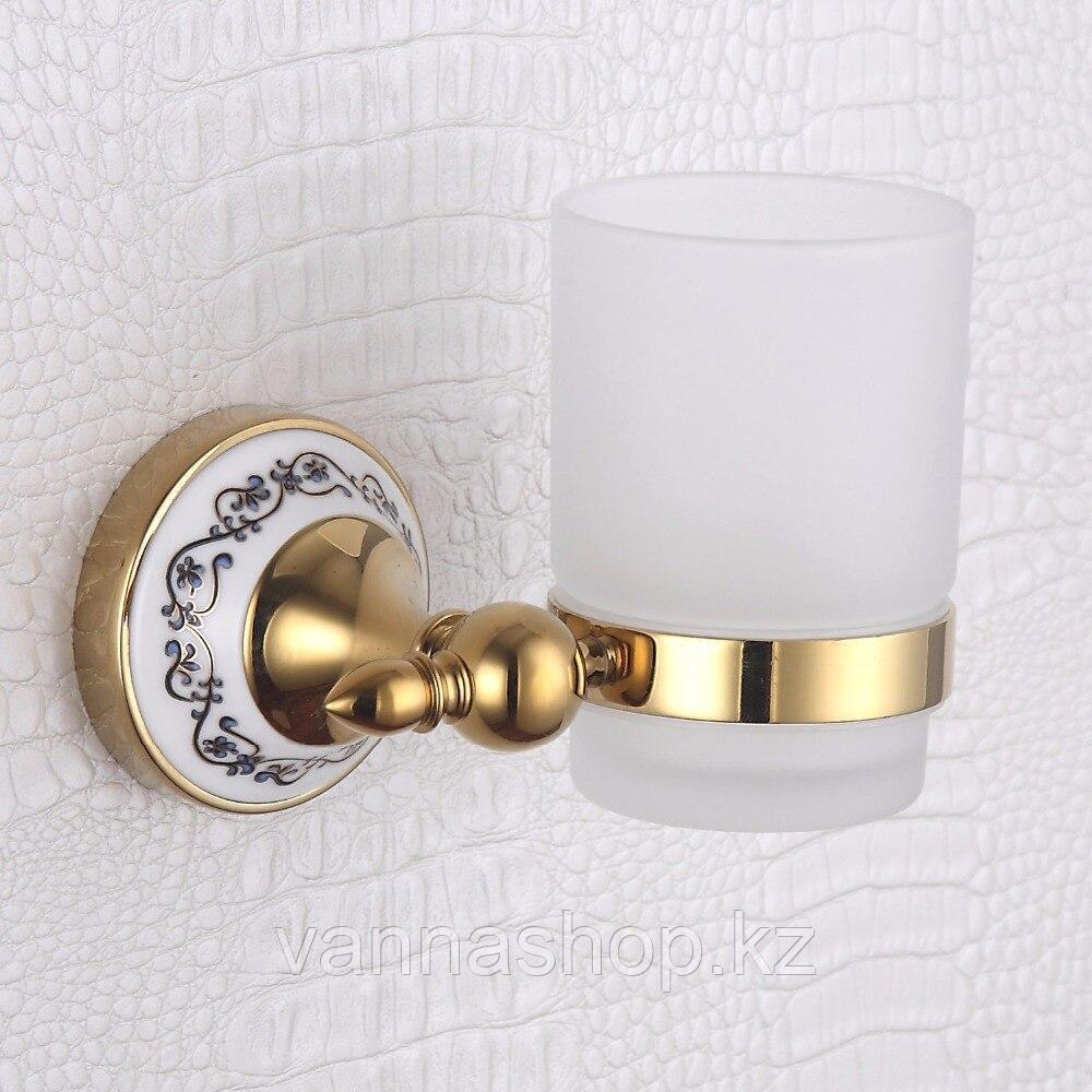 Настенный стакан для зубных щеток и паст золото