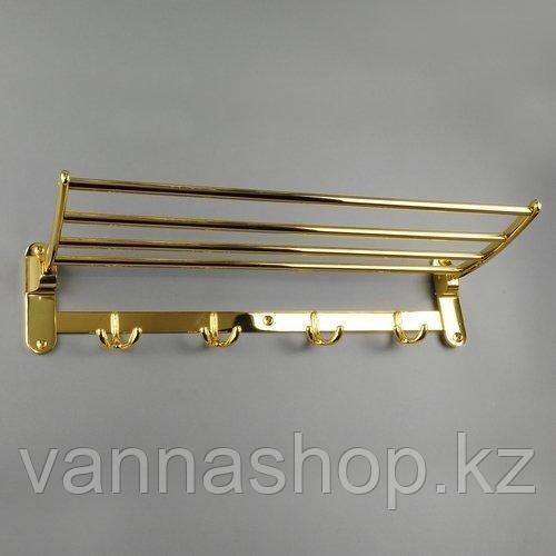 Ванная полка для полотенец и халатов (золотой)