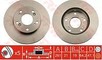 Тормозные диски Honda Stream  (01-…, Trw, передние, D262)