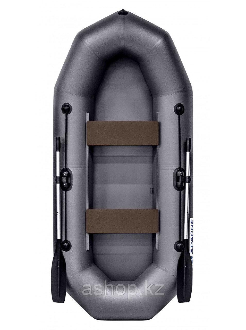 Лодка гребная надувная плоскодонная Apache  280, Грузоподъемность: 220кг, Вместимость: 2 чел., Кол-во отсеков: