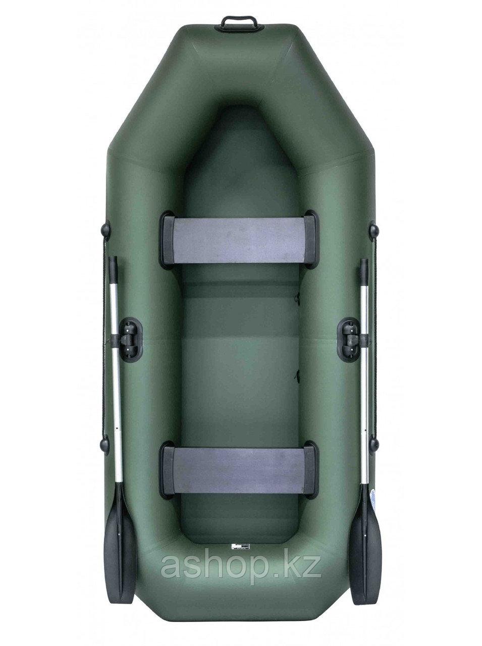 Лодка гребная надувная плоскодонная Rush 260, Грузоподъемность: 220кг, Вместимость: 2 чел., Кол-во отсеков: 2,