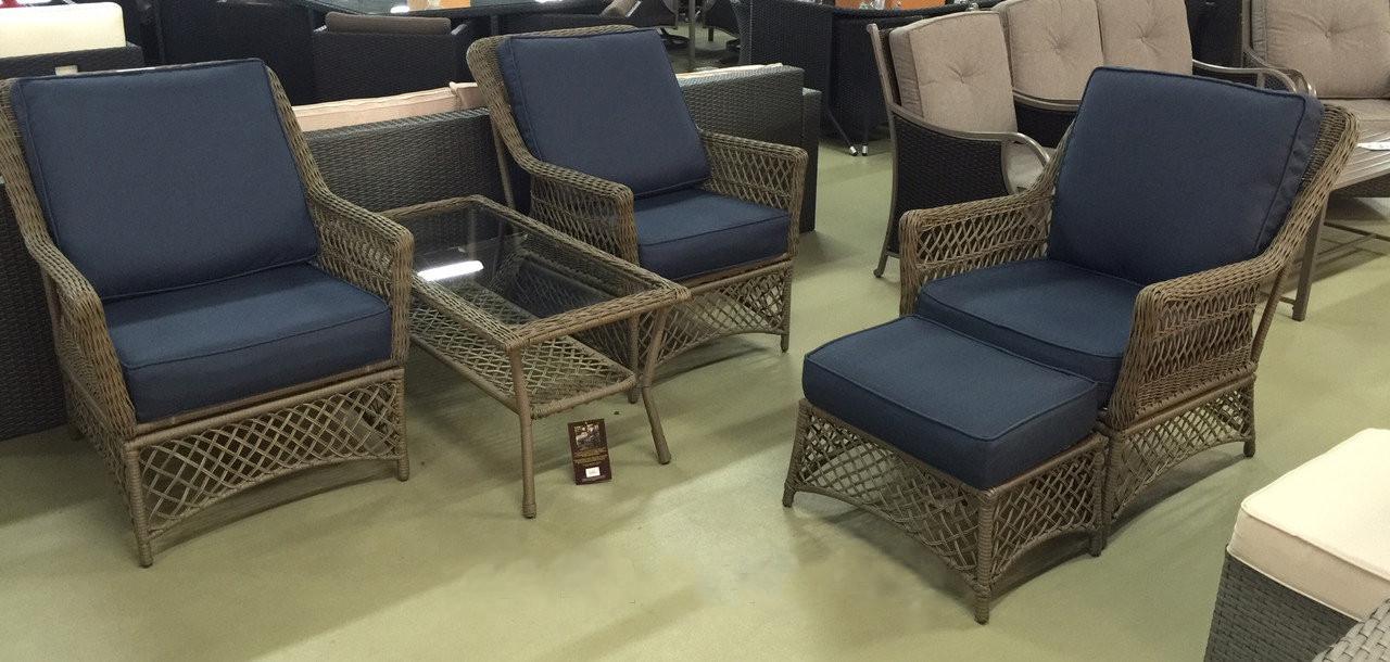 Набор мебели, стол + три кресла, искусственный ротанг АЗАЛИЯ