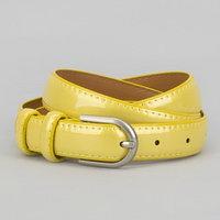 Ремень женский, 2 строчки, пряжка металл, ширина - 2,3 см, цвет жёлтый