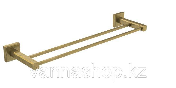 Настенный держатель для полотенец с двумя штангами (Бронза)