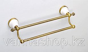 Настенный держатель для полотенец (двойная штанга) золотистого цвета