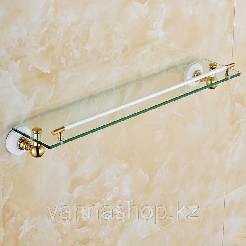 Настенная стеклянная полочка для ванны золотого цвета