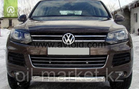 Защита переднего бампера, овальная для Volkswagen Touareg (2010-2014) (2014-2018)