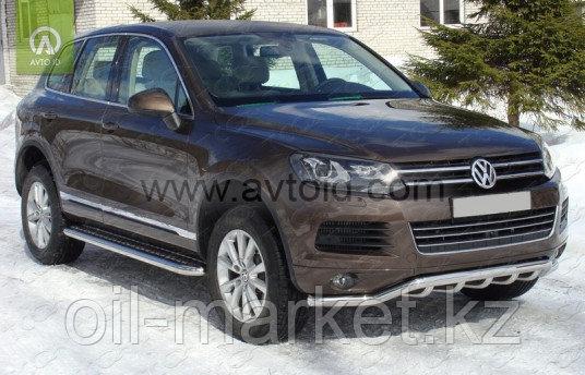 Защита переднего бампера, волна с защитой для Volkswagen Touareg (2010-2014) (2014-2018)
