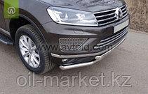 Защита переднего бампера, двойная для Volkswagen Touareg (2010-2014) (2014-2018), фото 2