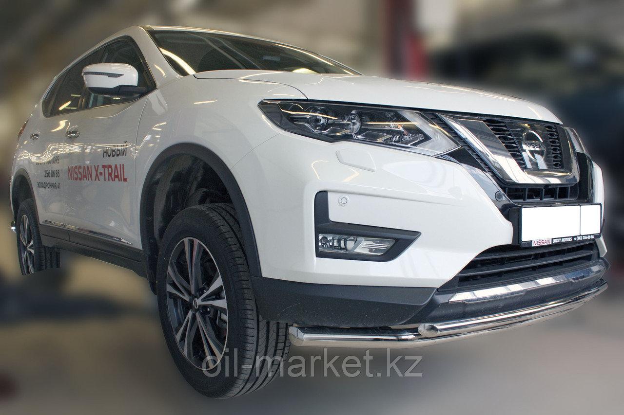 Защита переднего бампера, двойная, круглая для Nissan X-Trail  (2019-)